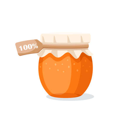 Glass pot with honey isolated on a white background. Design element for honey concept. Vector illustration
