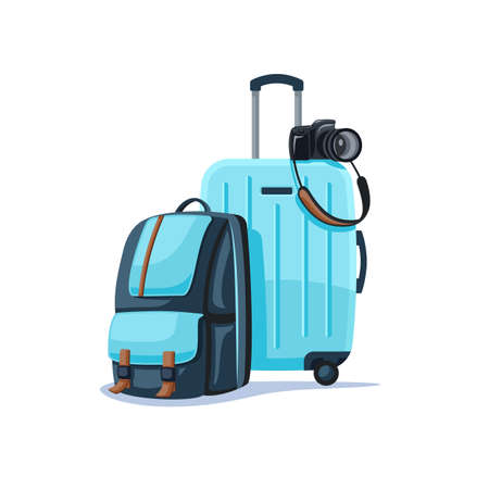 Backpack and suitcase isolated on white background. Things for a happy trip. Flat style. Vector illustration Illusztráció