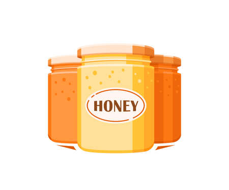 Glass jars with honey isolated on white background. Design element for honey concept. Vector illustration