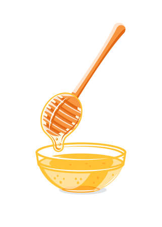 Glass capacity and spoon with drops of honey isolated on white background. Design element for honey concept. Vector illustration