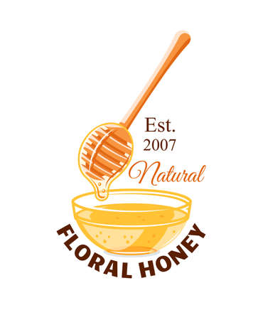 Glass capacity and spoon with drops of honey isolated on white background. Honey label,  emblem concept. Vector illustration