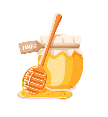 Glass pot with honey, spoon with drips honey isolated on white background. Design element for honey concept. Vector illustration Illusztráció