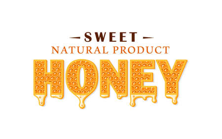 Flows of honey with honeycomb isolated on white background. Honey label,  emblem concept. Vector illustration