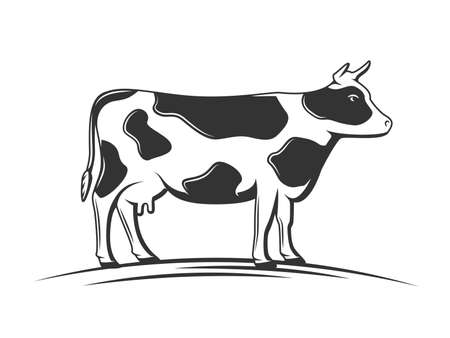 Cow silhouette isolated on white background. Design element. Vector illustration