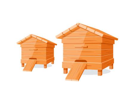 Beehives isolated on white background. Design element for honey concept. Vector illustration Illusztráció