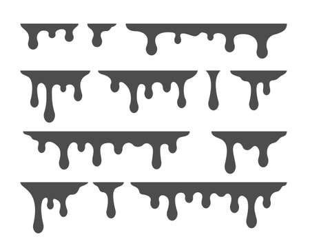 Oil drip silhouette. Splashes paint vector template. Syrup drip collection. Vector illustration
