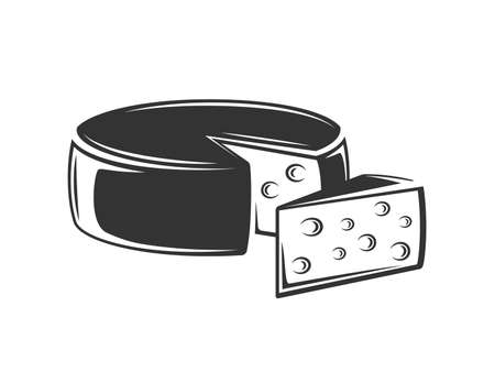 Vintage cheese isolated on white background. Design element. Vector illustration Illusztráció