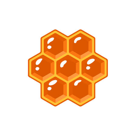 Honeycomb isolated on white background. Design element for honey concept. Vector illustration