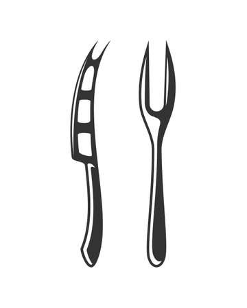 Cheese knife and fork. Cutlery for cheese products isolated on white background. Design elements. Vector illustration Illusztráció