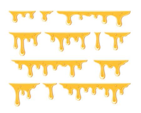 Honey dripping. Golden yellow realistic syrup. Liquid melt illustration Splashes oil vector template. Vector illustration