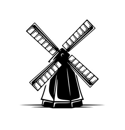Vintage windmill isolated on white background. Design elements. Vector illustration