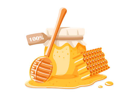 Glass pot with honey, spoon with drips honey and honeycomb isolated on white background. Design element for honey concept. Vector illustration
