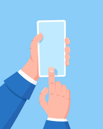 Hand holding cell phone, a finger clicks on the screen. Using mobile smart phone. Flat design concept. Vector illustration