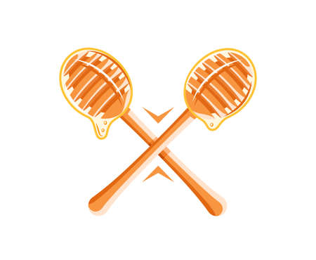 Spoons with drops of honey isolated on white background. Design element for honey concept. Vector illustration