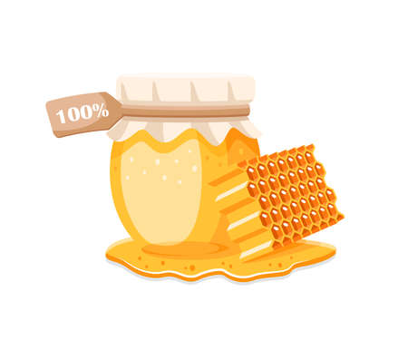 Glass pot with honey, honeycomb with drips honey isolated on white background. Design element for honey concept. Vector illustration