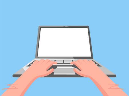 Hands on the laptop. Clean computer screen. Online business concept. Vector illustration Illusztráció