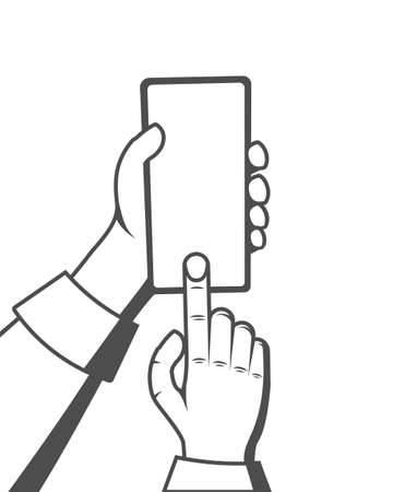 Hand holding cell phone, a finger clicks on the screen. Using mobile smart phone. Vector illustration Illusztráció