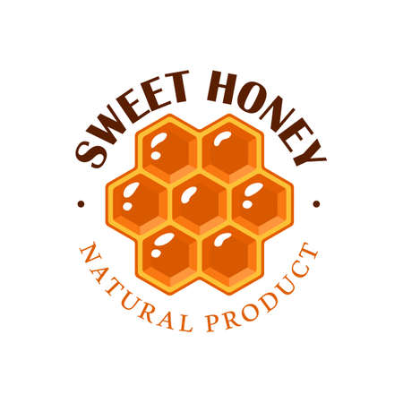 Honeycomb isolated on white background. Honey label, emblem concept. Vector illustration