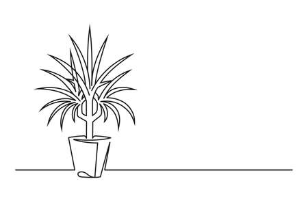 Continuous line drawing of a flower in a pot. Beautiful flower Isolated on a white background. Vector illustration