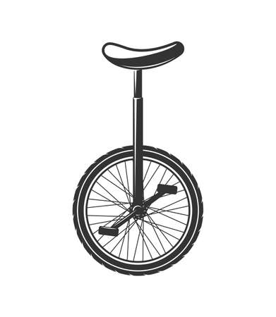 Circus unicycle bike isolated on white background. Design elements. Vector illustration