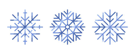 Collection of snowflakes isolated on white background. Christmas concept. Design elements for xmas. Cartoon style. Vector illustration