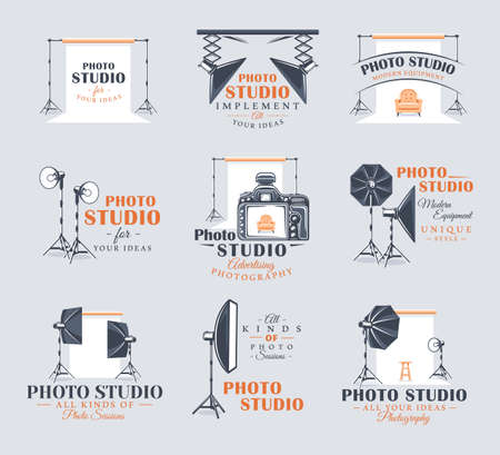 Set of vintage photo studio labels. Templates for the design and emblems. Collection of photo studio symbols: spotlight, softbox, strobe. Flat design element. Cartoon stile. Vector illustration