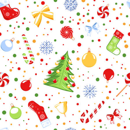 Seamless pattern with a christmas theme isolated on a white background. Cartoon style. Vector illustration