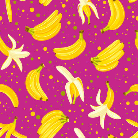 Seamless pattern with a set of bananas isolated on a violet background. Cartoon style. Vector illustration