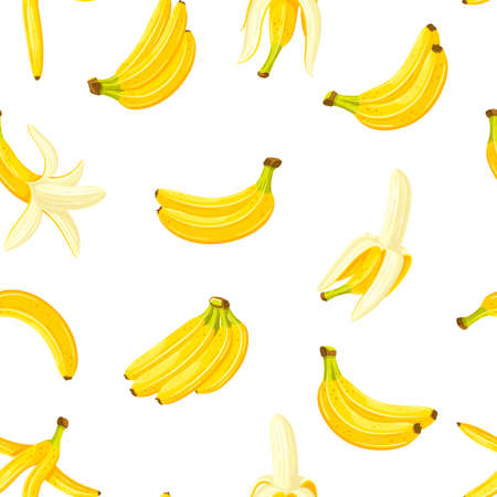 Seamless pattern with a set of bananas. Cartoon style. Vector illustration