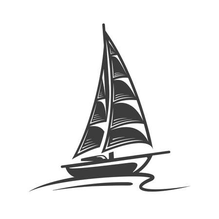 Sailing yacht on the wave isolated on white background. Design element. Silhouette of a sailing yacht. Vector illustration
