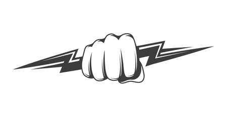 Fist and zipper isolated on white background. The hand clenched into a fist holds a lightning bolt. Power and energy concept. Vector illustration 矢量图像