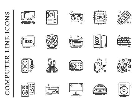 Computer parts line icons set isolated on white background. PC icons contain signs as memory, mouse, keyboard, monitor and more. Vector illustration 矢量图像