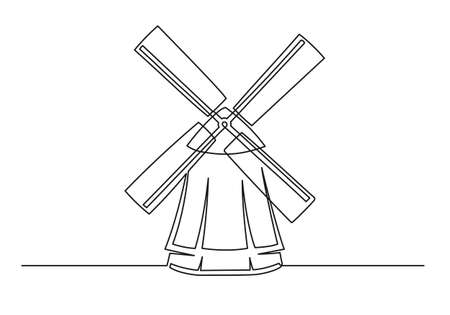 Continuous one line drawing of an vintage mill. Farm concept. Vintage mill isolated on a white background. Vector illustration 矢量图像