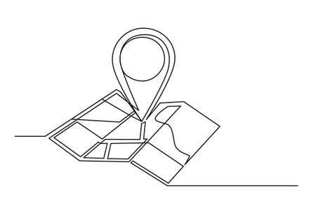 Continuous one line drawing of an map point. Travel concept. Map isolated on a white background. Vector illustration