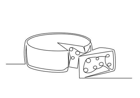 Continuous one line drawing of an cheese. Farm concept. Cheese isolated on a white background. Vector illustration 矢量图像