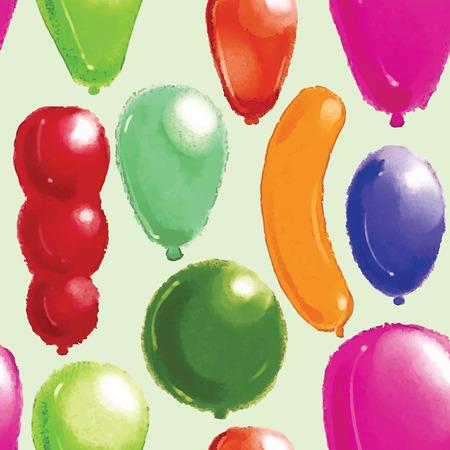 Watercolor pattern  Balloons Vector