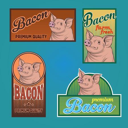 Bacon vintage labels Vector