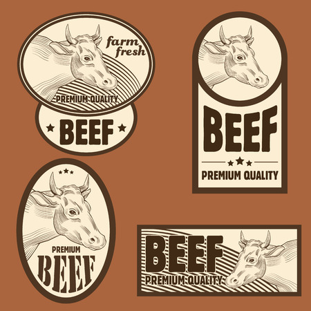 Beef vintage labels Vector