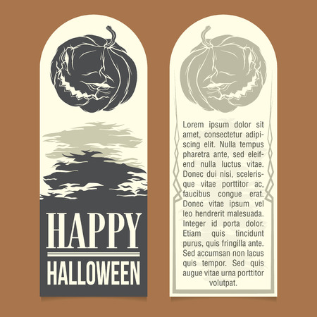 sides: Halloween invitation template. Front and back sides
