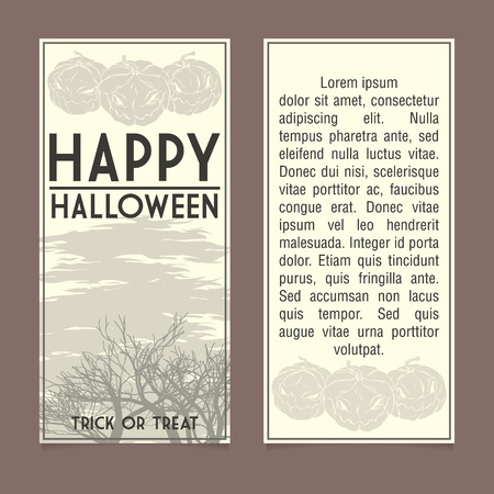 Moonlight lanterns: Halloween invitation template. Front and back sides
