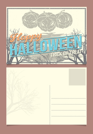 halloween postcard template front and back sides royalty free