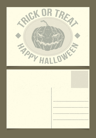 postcard back: Halloween postcard template. Front and back sides