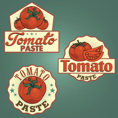 Tomato paste labels set Illustration