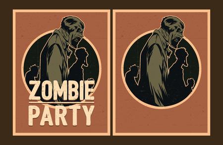 invitaci�n a fiesta: Cartel de Halloween. Sistema de la invitaci�n del partido del zombi. Vectores