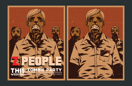 Halloween Poster. Zombie party invitation set. Vector
