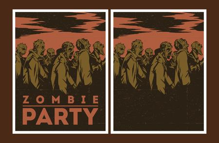 zombie: Halloween Poster. Zombie party invitation set.