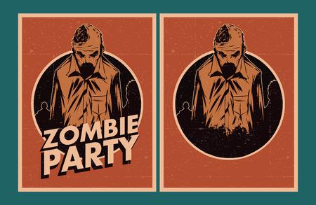 party invitation: Cartel de Halloween. Establece la invitaci�n del partido del zombi. Vectores