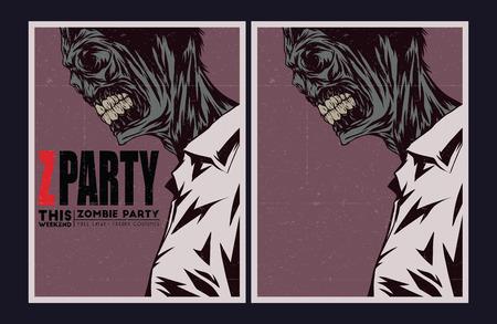 Halloween Poster. Zombie party invitation set. Vector
