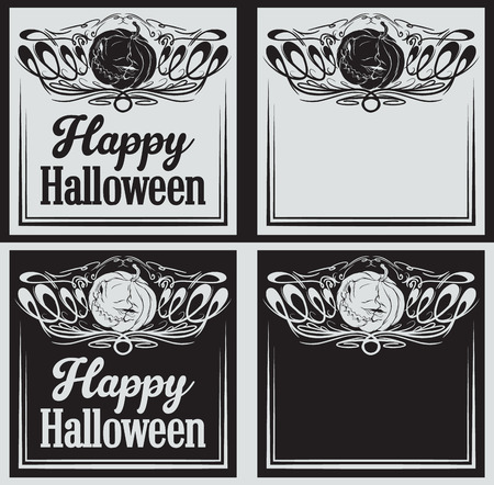 halloween greetings: Happy Halloween greetings cards with pumpkin set