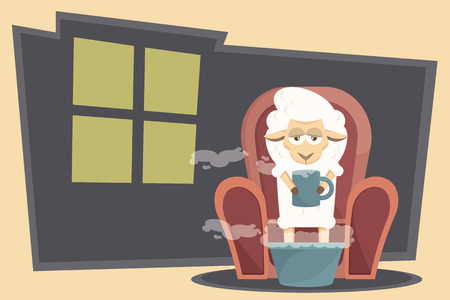 Flu or common cold treatment at home. Cute sick baby lamb with fever in chair at home. Vector